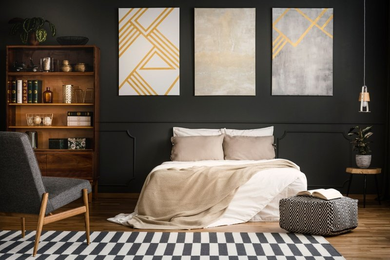 Modern Bedroom Black Wall -min